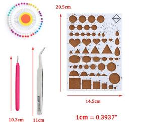 4pcs/set Cute DIY Paper Quilling Tools Set Template Mould Board Tweezer Pins Slo