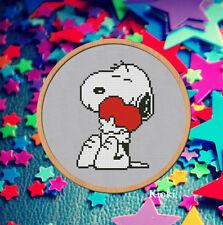 Cross stitch pattern Snoopy with heart PDF Counted Cross Stitch Chart Scheme DMC