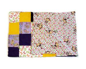 Handmade Baby Quilt Blanket Reversible Unique Multicolor Butterflies & Monkeys