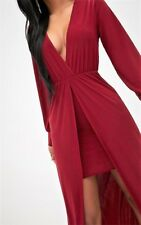 WOMEN'S MAXI DRESS, SIZE 12, SLINKY PLUNGE IN BURGUNDY PRETTY LITTLE THING, NEW