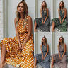 Womens Holiday Sundress Maxi Ladies Party Polka Dot CAMI Loose Swing Long Dress
