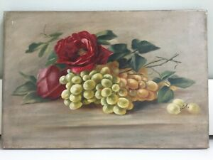 Antique Oil on Canvas Still Life Painting Red Roses Fruit Signed AMM 45x30cm