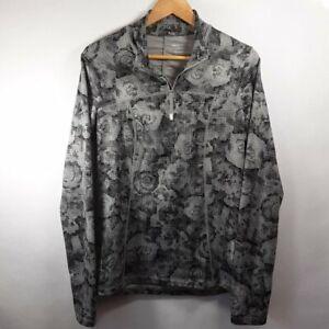 Marika Tek Floral Gray Print Active 1/4 Zip Running Pullover Jacket