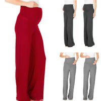 Women Maternity Pregnant Wide Leg Pants Loose Solid Belly Straight Long Trousers