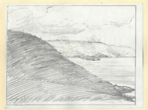 Marcus Adams - Early 20th Century Graphite Drawing, Costal Landscape