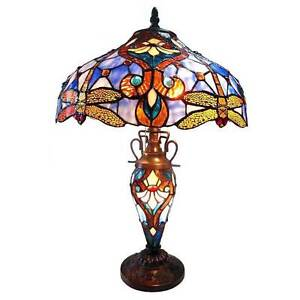 Table Lamp Tiffany Style 3 Lights Amber Dragonfly Jewel Stained Glass Lit Base