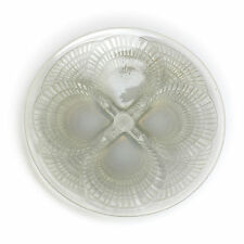 R. Lalique Coquilles Opalescent Art Glass Shell Footed Plate, c1920 Signed  #'d