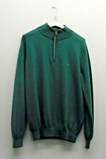 FYNCH HATTON SEA GREEN HIGH NECK LONG SLEEVE JUMPER SIZE M QUARTER ZIP R25