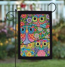 Toland Three Owls 12.5 x 18 Colorful Bird Flower Collage Garden Flag