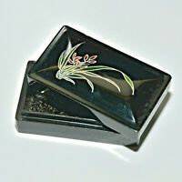 Vintage black resin hard trinket box pill box home decor floral
