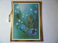 "Vtg Christmas Greeting Card~Blue Ornaments Glitter Foil ""To My Wife"" Norcross"
