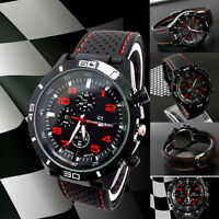 Montre Sport Homme Quartz Analogique Bracelet Silicone Grand Touring Pilot Watch