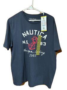 NAUTICA Mens Cotton Crewneck Tee Graphic T-Shirt Medium Navy Blue NEW With Tags