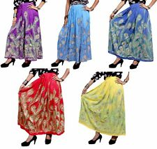 10Pcs Indian Rayon Embroidered Sequin Work Boho Hippie Long Skirt Wholesale Lot