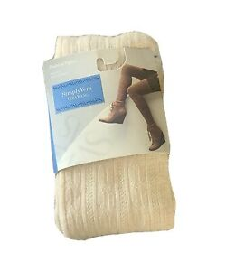 Simply Vera Vera Wang Fashion Tights Womens Size 2/3  Cream Color Cable Sweater