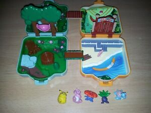 2 x vintage 1997 Pokemon Polly Pocket Tomy mini playsets forest park + figures