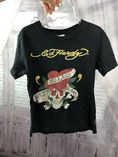 Ed Hardy Boys Girls Embellished T-Shirt Tee Love Kills Black Sz Large 6 7 8