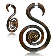 PAIR 18G SONO WOOD FAKE CHEATER PLUGS CARVED SUPER SPIRALS BRASS ROSE GAUGES