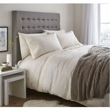 CATHERINE LANSFIELD CLASSIC LACE BANDS DUVET COVER SET SINGLE PINTUCK BEDDING