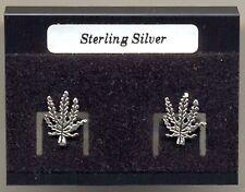 Cannabis Ganja Leaf Sterling Silver 925 Studs Earrings Carded