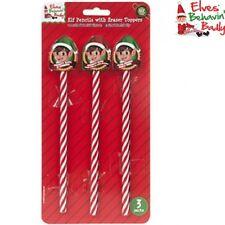 Navidad TRAVIESO elfo BROMA X 3 de lápiz + Borrador manualidades Behavin MAL