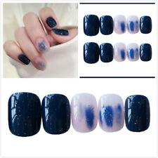Full False Nails Artificial Nail Tips Starry Sky Dyeing Acrylic Short 24pcs /box