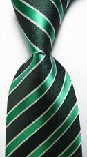 New Classic Striped Dark Green White JACQUARD WOVEN 100% Silk Men's Tie Necktie