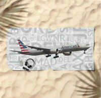 American Airlines Boeing 777-300ER with Airport Codes -  Beach Towel