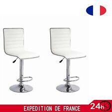 Tabouret de bar lot de 2 Chaise blanc  TECTAKE réglable en Hauteur 60 cm - 81 cm