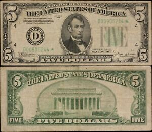 1934B $5 Federal Reserve Star Note - F-1958D