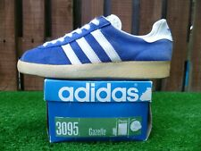 VINTAGE Adidas GAZELLE BLAU 80 s casuals OG 1978 MADE IN WEST GERMANY WITH BOX
