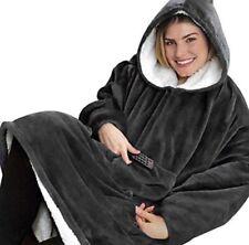 Blanket Sweatshirt Oversized Hoodie, Luxury Wearable Sherpa Fleece