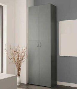 Tall Kitchen Larder Cupboard Storage Pantry Grey Freestanding Utility Cabinet
