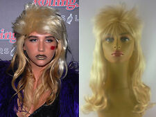 DELUXE WOMENS LONG BLONDE 1980's 1990's CURLY FASHION ROCKER MULLET COSTUME WIG