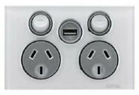 Clipsal SATURN DOUBLE POWERPOINT WITH SINGLE USB CHARGER 10A 250V Pure White