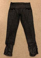 Lululemon Insight Crop Size 4 Heathered Black Grey Zipper Pockets Ruched