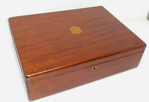 Vintage Mahogany Cutlery Box with Inlaid Brass Cartouche