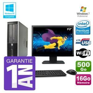 "PC HP 8200 SFF Intel G630 16Go Disque 500Go Graveur Wifi W7 Ecran 19"""