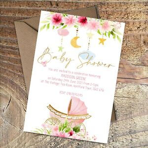 BABY SHOWER INVITATIONS Pink floral pram/carriage, Personalised PK 10