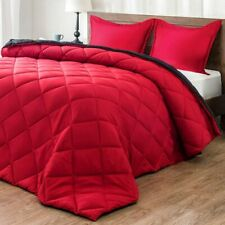 downluxe Comforter 3 pc Set Red Black Full Queen Pillow Shams Down Alternative