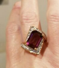 VINTAGE PARK LANE SIMULATED AMETHYST AND RHINESTONE COCKTAIL RING SIZE 8