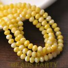New 50pcs 6mm Glass With Color Coated Rondelle Faceted Loose Beads Bulk Yellow