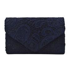 Premium Lace Paisley Floral Fabric Satin Envelope Flap Clutch Evening Bag