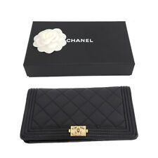Authentic CHANEL Quilted Long wallet Leather Coco Gold Purse Lamb skin Matrasse