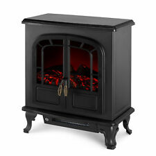 Netta Traditional 2000W Electric Stove Heater Flame Effect Black Double Door