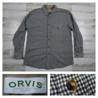ORVIS Mens Large Plaid Flannel Checks Casual Long Sleeve Button Front Shirt