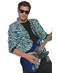 80S Blue Mens Adult Punk Rocker Costume Zebra Blazer Jacket