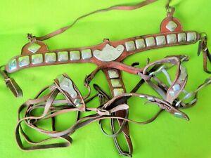 TERRIFIC Vintage Antique ORNATE Parade BRIDLE & Horse Head BREAST COLLAR Set~NR