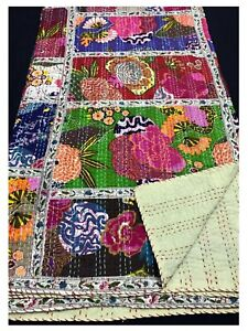 Indian Handmade Twin Cotton Kantha Quilt Throw Blanket Vintage Quilt Bedspread.
