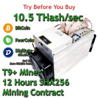 Bitmain Antminer T9+ 10.5 THash/sec Guaranteed 12 Hours Mining Contract SHA256